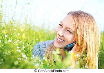 mooi, tiener, klesten, telefoon, buitenshuis, meisje