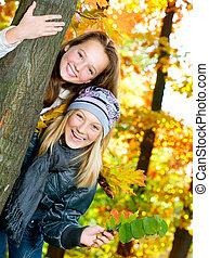 mooi, tiener, park, meiden, .outdoor, herfst, plezier, hebben