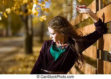 mooi, tiener, romantische, beauty, meisje, outdoors., model