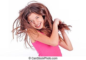 mooi, tiener, steunen, jonge, teeth, meisje, witte