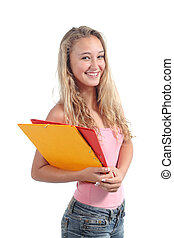 mooi, tiener, student, verticaal, het glimlachen van het meisje