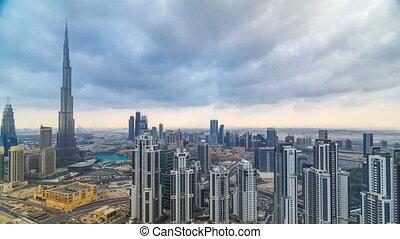 mooi, timelapse, dubai, verenigd, panoramisch, skyscrapers.,...