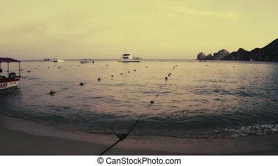 mooi, timelapse, grit, op, ondergaande zon , in, los, cabo, baja californië sur, mexico, waar, de, woestijn, bereiken, rechts, dons, om te, de, pacific, ocean., daar, is, een, verbazend, kwaliteit, van licht, ongeveer, dit, gebied