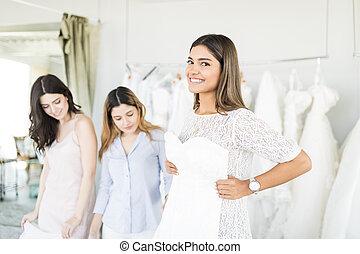 mooi, toga, haar, winkel, bruid, huwelijk, aankoop