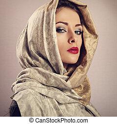 mooi, toned, hoofd, vrouw, lippenstift, sjaal, makeup, ...