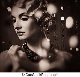 mooi, toned, vrouw, hairdo, elegant, retro, blonde ,...