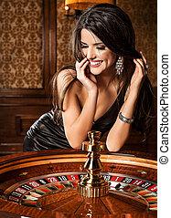 mooi, toneelstukken, casino, brunette