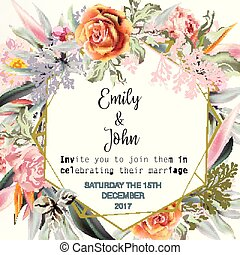 mooi, tropische , vellen, uitnodiging, plants.eps, rozen, trouwfeest, datum, sparen, of, kaart, pearch