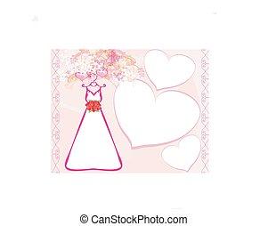 mooi, trouwfeest, dress., mal, uitnodiging