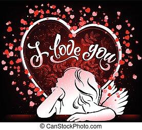 mooi, u, liefde, kaart, engel