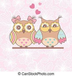 mooi, uilen, liefde, kaart