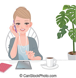mooi, uitvoerend, vrouw die op de telefoon spreekt, met, raak beschermlaag aan
