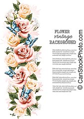mooi, vakantie, vector., butterflies., achtergrond, bloemen