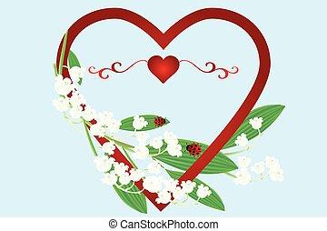 mooi, vallei, hart, ladybugs, liekies, bloemen, kaart