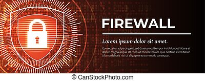 mooi, vector., firewall., digitale , rood, achtergrond.