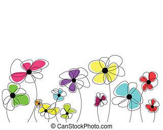 mooi, verbazend, bloemen, bloesems, kleurrijke