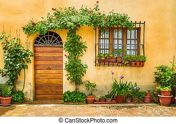 mooi, verfraaide, bloemen, italië, portiek