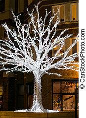 mooi, verlicht, op, boompje, volle, van, christmas lights, in, de, straten, van, de stad, op de avond