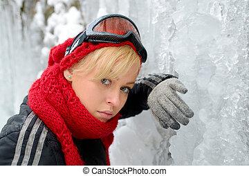 mooi, verticaal, blonde, winter, meisje