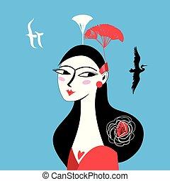 mooi, verticaal, meisje, aziaat, illustratie