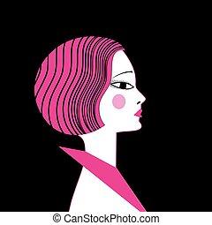 mooi, verticaal, meisje, vector, illustratie