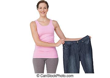 mooi, verticaal, passen, jeans, vasthouden, oude vrouw