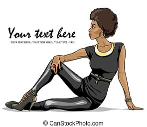 mooi, verticaal, vrouw, black