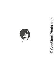 mooi, verticaal, vrouw, black , sunglasses.