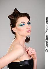 mooi, verticaal, vrouw, jonge, makeup