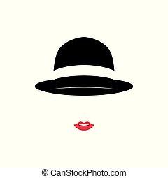 mooi, vervelend, ouderwetse , dame, achtergrond., witte hoed