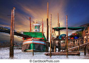 mooi, visserij, scène, land, scape, thai, alhier, traditie,...