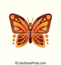 mooi, vlinder, bruine , vrijstaand, illustratie, vector, achtergrond, sinaasappel, witte