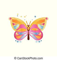 mooi, vlinder, illustratie, vector, achtergrond, witte