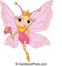 mooi, vlinder, prinsesje