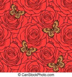 mooi, vlinder, roses., seamless, achtergrond