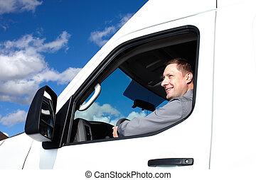 mooi, vrachtwagen, driver.