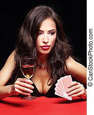 mooi, vrouw, geluksspelletjes, op, rode tafel