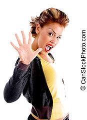 mooi, vrouw, het tonen, vijf, vingers