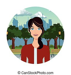 mooi, vrouw, in het park, met, stedelijke , achtergrond