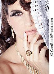 mooi, vrouw, met, juwelen
