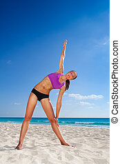 mooi, vrouw,  yoga,  Stretching, op,  arm