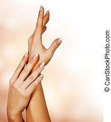 mooi, vrouwlijk, concept, hands., manicure