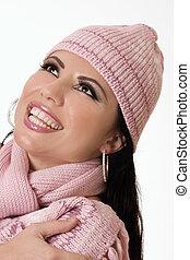 mooi, vrouwlijk, in, winter, mode
