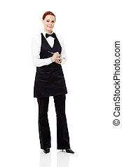 mooi, waitress, het nemen van orde