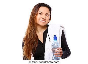 mooi, water, glimlachende vrouw, fles