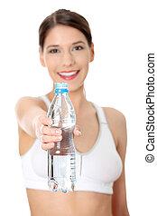 mooi, water, vrouw, mineraal, fles