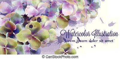 mooi, watercolor, bloemen, lente, ceremonie, uitnodiging, begroetenen, vector., trouwfeest, sparen, datum
