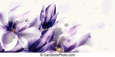 mooi, watercolor, bloemen, paarse , ceremonie, uitnodiging, begroetenen, vector., trouwfeest, sparen, datum