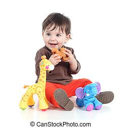 mooi, weinig; niet zo(veel), baby meisje, spelend, met, dier, speelgoed