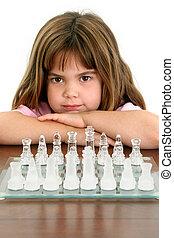 mooi, weinig; niet zo(veel), glas, schaakspel, meisje, plank